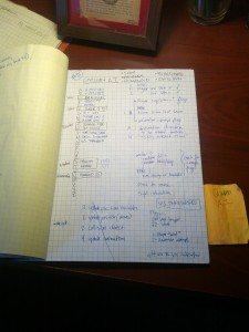 A page from the project notebook